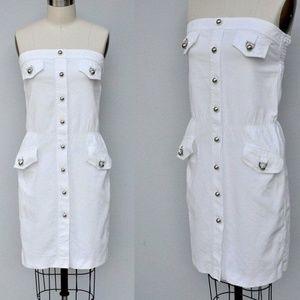 BARBARA BUI White Dress Strapless French 38 S
